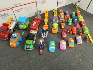 34 Kids Toy Cars Vehicles w/ Eyes Tomy Trains Little People Race Cars Cookie Lot