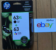 Brand New GENUINE HP 63XL Black & 63 Color Ink Cartridges (RETAIL BOX) 01/2019
