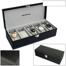 ASTIN OF LONDON® MENS BLACK PU LEATHER 5 WATCH STORAGE BOX WITH GREY INTERIOR