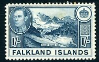 FALKLAND ISLANDS-1938-50 1/- Deep Dull Blue Sg 158c LIGHTLY MOUNTED MINT V12027
