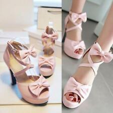 Womens Summer Peep Toe Sweet Bowknots Cross Strappy High Heels Dress Sandals New