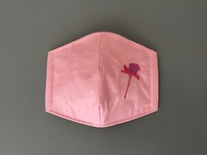 FACE MASKS Double Layer PURE PINK COTTON - UK HANDMADE, WASHABLE & EMBROIDERED