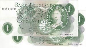 Fforde Pound £1 Banknote T08A Crisp gEF Consecutive Pair