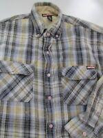 Craftsmen Mens Flannel Jacket Shirt L Brown Blue Plaid