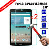 2x Genuine Clear Tempered Glass Tablet Screen Protector For LG G pad f 8.0 V495
