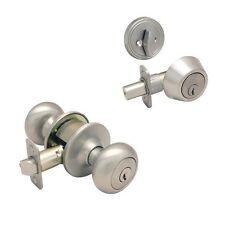Designers Impressions Bedford Satin Nickel Combo Entry Knob / Deadbolt
