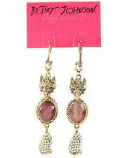 BETSEY JOHNSON 'Woodland Forest' Fox Princess Stone Pave Triple Drop Earrings