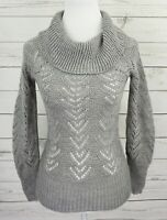 Wet Seal Sweater Womens XS Gray Solid Cowl Neck Long Sleeve Open Knit Pullover