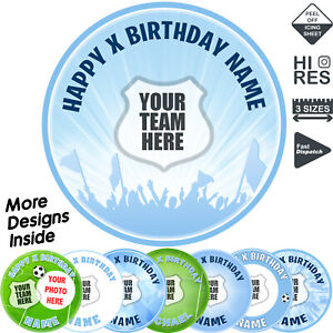 Manchester City Man City Cake Topper Personalised Round Circle Edible Icing
