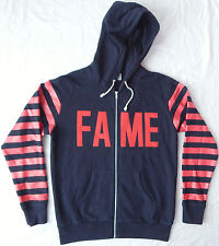 FAME Zippered Hoodie Sweater - Mens Medium Hooded Black & Red Hall of Fame