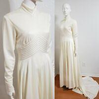Vtg OOAK Mock Neck Modest Wedding Dress 60s Bridal Gown Harzfeld's Ivory Sz S