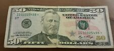 US $50 Federal Reserve Bank note series 2006 LOW STAR SER.IG00025498* fine RARE