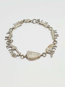 """Vintage Marsala 925 Sterling Silver Noah's Ark Animal Link Bracelet 7.25"""" (8)"""