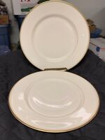 """Franscian Fine China Dinner Plates Set Of 2 Gold Band Made In California  10.5"""""""