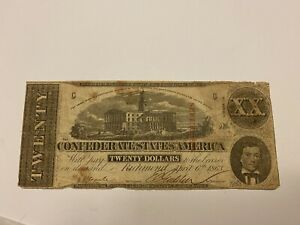 📈1863 $20 Confederate States Currency Civil War Note XX Richmond Authentic🔥💎