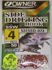 Owner Side Drifting Hooks Steelhead SSW Octopus #5315SD-073 Size #4 RED 50 pack