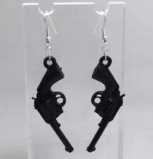 Large Black Pistol Gun Charm Earrings Hooks Kitsch Unusual D410 Silver Plt Hooks
