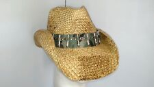 NEW Peter Grimm REX Bullet Camo Band Drifter Western Straw Cowboy Hat Tea Stain
