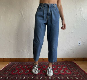 """Vintage 90s 80s ZENA High Rise Tapered Carrot Pleated Mom Jeans Womens 8 26"""""""
