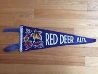 Vtg Red Deer Alberta Pennant Felt Banner 1960's Canada Souvenir AB Antique