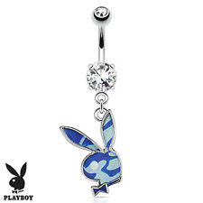 Playboy Bunny with Blue Camouflage Dangle Belly Button Navel Ring Body Jewelry