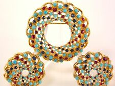 Sarah Coventry Wreath Brooch & Clip Earrings Turquoise Sapphire Red Rhinestones