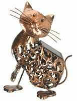 Garden Solar Powered Metal CAT Decorative Silhouette Scroll LED Light