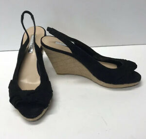 H By Halston Sz 7.5M Faux Suede Sling Back Wedge Heel Bow Front Peep Toes