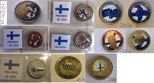FINLANDIA 2 EURO 10/11/12/13/14/15/16  SMALTATI COLORATI A MANO - 1 SOLA MONETA