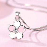New 925 Sterling Silver Necklace Pink Cherry Blossom Flower Pendant For Women