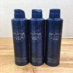 Nautica Voyage N-83 for Men 3 Pack  Deodoraizing Body Spray 6.0 oz Dented