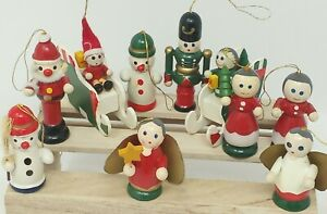 10 Vintage Hand Painted Wooden Christmas Ornaments