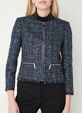TED BAKER navy blue metallic boucle tailored smart blazer dress jacket work 2 10