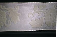 """50 Yard Spool Wire Edged Beige Flocked Floral Bow Making Craft Ribbon 1-1/2"""" New"""
