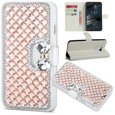 Rose Gold Luxury Crystal Bling Diamond Flip Leather Case For Various Phone