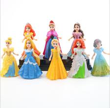 8pcs Disney Princess Action Figures Changed Dress Doll Kids Boys Girls Toys Gift