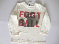 NWT Baby Gap LS White Football T-shirt Top, 2T