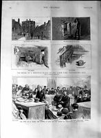 Old Antique Print 1888 Merchant Prince Austinfriars Court Wilson Hebert 19th
