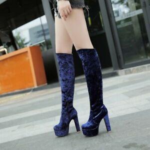 Womens Ladies Velvet Knee High Riding Boots Round Toe Block Heels Platform Shoes