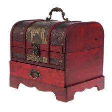 Boîte de rangement de bijoux en bois rétro, coffre à trésor,