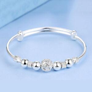 925 Sterling Silver Bangle Bracelet Boho Charm Womens Ladies Girl Jewellery Gift