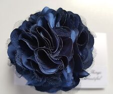 "Girls Womens 3""satin & Net Full Flower Hair Clip, Brooch, corsage Navy Blue..UK"
