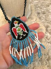 Beaded Navajo Style Zuni Bird seed Beaded Necklace leather back