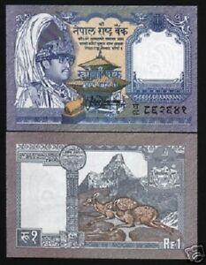 NEPAL 1 RUPEE P-37 1991 *Replacement GHA78 KING BIRENDRA DEER AMADABLAM UNC NOTE