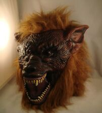 BROWN Werewolf Latex Mask Halloween Fancy Dress Scary Wolf Warewolf Dog SECONDS