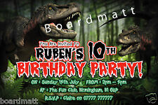 Personalised Dinosaur Party Invitations x10 Roar! Great Prehistoric Invites!