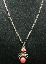 VTG Styled Gold Tone Red Rhinestone Faux Marble Spider Necklace Choker