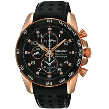 Seiko SNAE80 Mens Watch Stainless Steel Rose Gold Sportura Alarm Chronograph