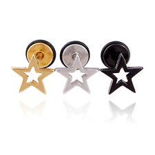 Hollow Star Stainless Steel Punk Men Women Pierced stud earrings Prevent allergy