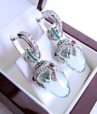 STUNNING RUSSIAN AQUAMARINE handmade of SOLID STERLING SILVER 925  EARRINGS